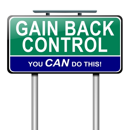 take charge: Illustration depicting a roadsign with a control concept  White  background
