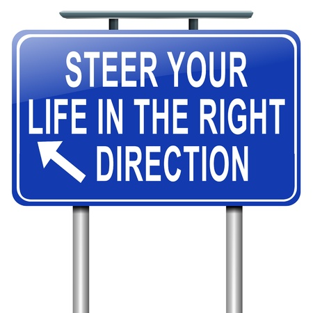 roadsign: Illustration depicting a roadsign with a life direction concept  White  background  Stock Photo