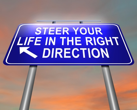 new direction: Illustration depicting an illuminated roadsign with a life direction concept  Dusk sky background  Stock Photo