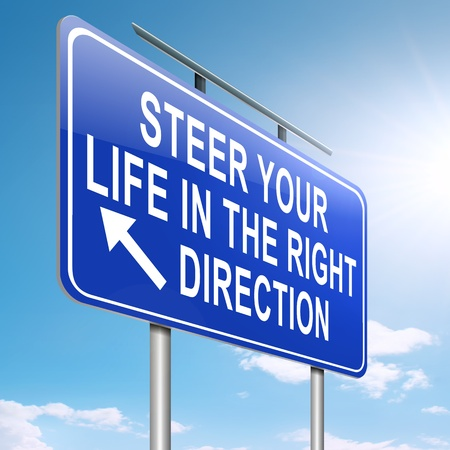 Illustration depicting a roadsign with a life direction concept  Sky background