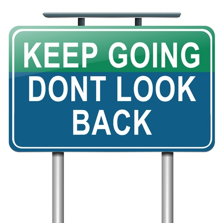 gift behind back: Illustration depicting a roadsign with a motivational concept  White  background  Stock Photo
