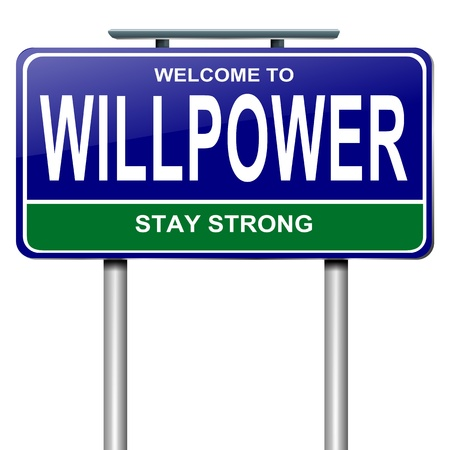 will power: Illustration depicting a roadsign with a willpower concept  White  background
