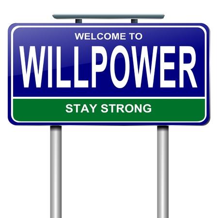 willpower: Illustrazione raffigurante un cartello stradale con un concetto sfondo bianco forza di volont�