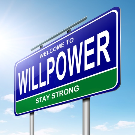 Illustration depicting a roadsign with a willpower concept  Sky  background