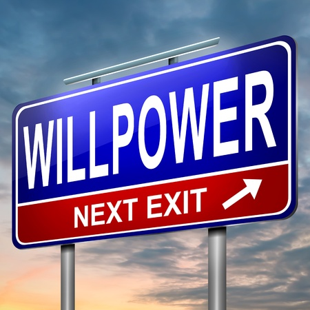 will power: Illustration depicting an illuminated roadsign with a willpower concept  Dusk sky  background