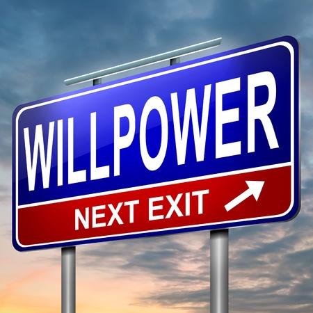 willpower: Illustrazione raffigurante un cartello illuminato con uno sfondo volont� cielo concetto Dusk