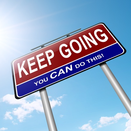 to go: Illustration depicting a roadsign with a motivational concept  Sky background  Stock Photo