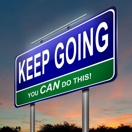 perseverar: Ilustraci�n que representa un roadsign iluminado con un concepto motivacional oscuro fondo del cielo crep�sculo Foto de archivo