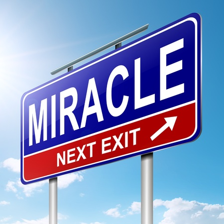 fast forward: Illustration depicting a roadsign with a miracle concept  Sky background