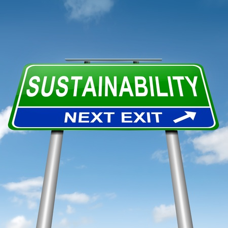 Illustration depicting a roadsign with a sustainability concept  Sky background
