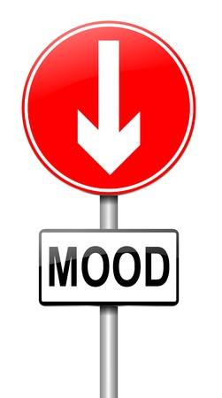 despondent: Illustration depicting a roadsign with a mood concept  White  background