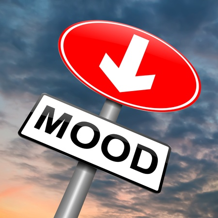 despondent: Illustration depicting a roadsign with a mood concept  Cloudy dark sky background