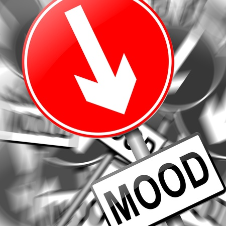 Illustration depicting a roadsign with a mood concept  Monochrome blurred background  Stock Illustration - 15303006