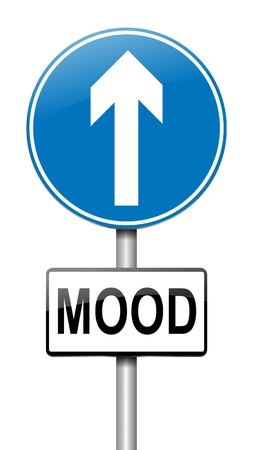 euphoric: Illustration depicting a roadsign with a mood concept  White background