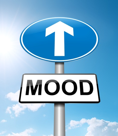 upbeat: Illustration depicting a roadsign with a mood concept  Bright sunshine  background