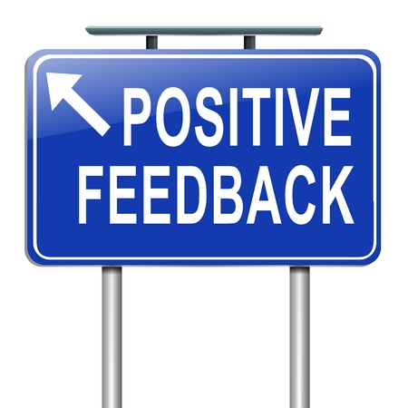 ottimo: Illustrazione raffigurante un cartello stradale con uno sfondo concetto di feedback positivo Bianco