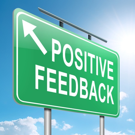 feedback: Illustration depicting a roadsign with a positive feedback concept  Sky  background
