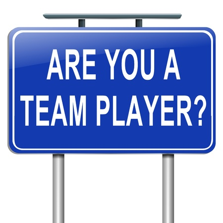 Illustration depicting a roadsign with a team player concept  White  background