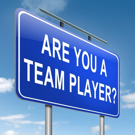 Illustration depicting a roadsign with a team player concept  Blue sky background