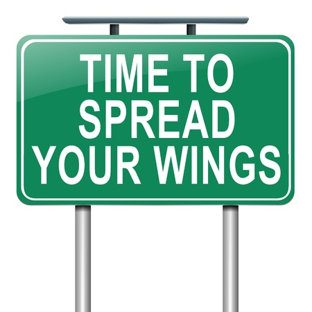 Illustration depicting a roadsign with a spreading your wings concept  White  background Stock Illustration - 15302998