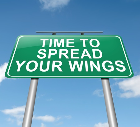 new life: Illustration depicting a roadsign with a spreading your wings concept  Sky background  Stock Photo
