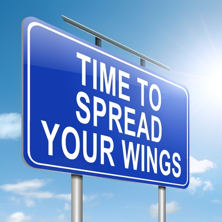 Illustration depicting a roadsign with a spreading your wings concept  Sky background  Stock Photo