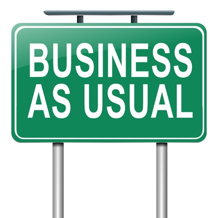 as: Illustration depicting a roadsign with a business as usual concept  White  background