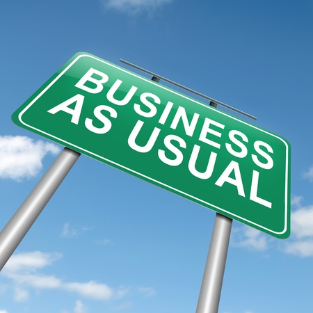 usual: Illustration depicting a roadsign with a business as usual concept  Sky background