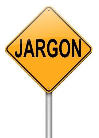 Unsinn: Die Illustration zeigt eine roadsign mit einem Jargon Konzept. Wei�er Hintergrund.