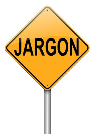 lingo: Illustration depicting a roadsign with a jargon concept. White  background. Stock Photo