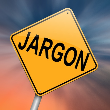 terminology: Illustration depicting a roadsign with a jargon concept. Abstract background. Stock Photo