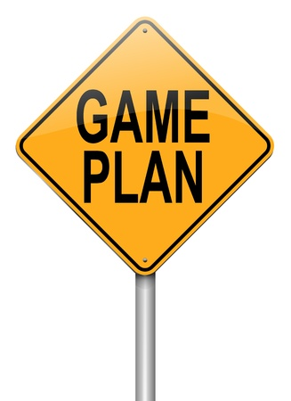 organise: Illustration depicting a roadsign with a game plan concept. White  background.