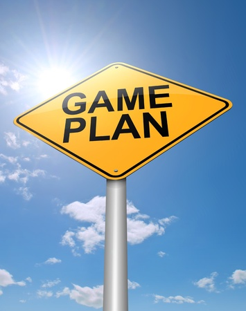 organise: Illustration depicting a roadsign with a game plan concept. Sunlight and sky background.