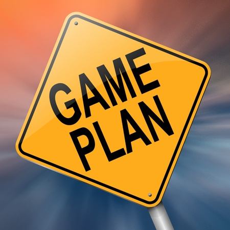winning proposal: Illustration depicting a roadsign with a game plan concept. Abstract background.