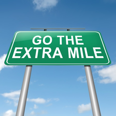 Illustration depicting a roadsign with a go the extra mile concept. Sky background.