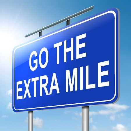 surpass: Illustration depicting a roadsign with a go the extra mile concept. Sky  background. Stock Photo