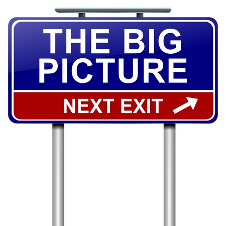 Illustration depicting a roadsign with  the big picture concept. White  background.