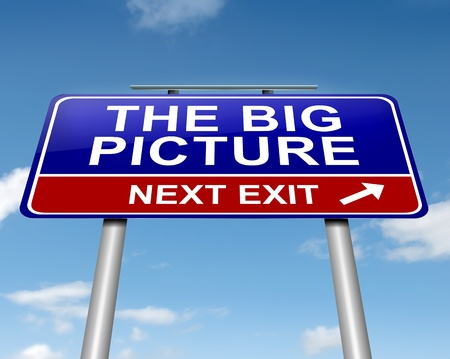 circumstances: Illustration depicting a roadsign with  the big picture concept. Sky background. Stock Photo