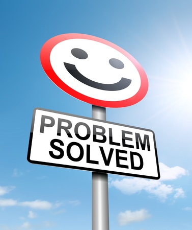 solve a problem: Illustration depicting a roadsign with