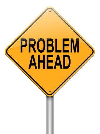 drawback: Illustration depicting a roadsign with a problem concept  White background