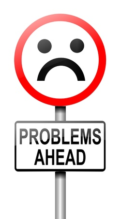 Illustration depicting a roadsign with a problem concept  White background  illustration