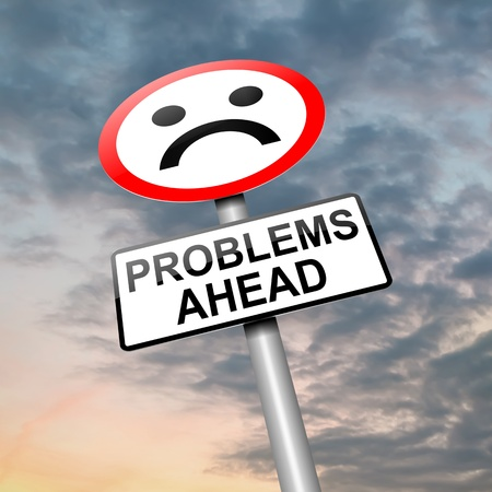 trauma: Illustration depicting a roadsign with a problem concept  Cloudy sky background  Stock Photo