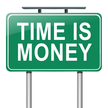 equities: Illustration depicting a roadsign with a time is money concept  White background  Stock Photo