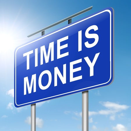 Illustration depicting a roadsign with a time is money concept  Sky background