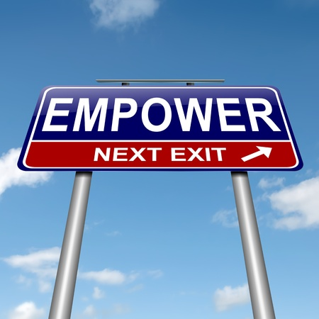 encourage: Illustration depicting a roadsign with an empower concept. Sky background. Stock Photo