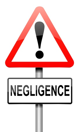 negligence: Illustration depicting a roadsign with a negligence concept. White background.