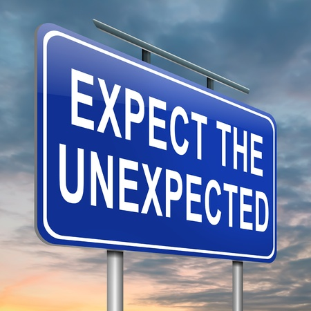 Illustration depicting a roadsign with an 'expect the unexpected' concept. Sky background. Stock Illustration - 15405769