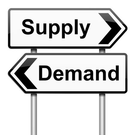 require: Illustration depicting a roadsign with a supply or demand concept.White background.