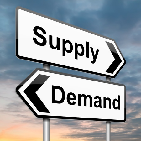 on demand: Illustration depicting a roadsign with a supply or demand concept. Dusk background.