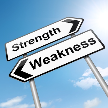 weakness: Illustration depicting a roadsign with a strength and weakness concept. Sky background. Stock Photo